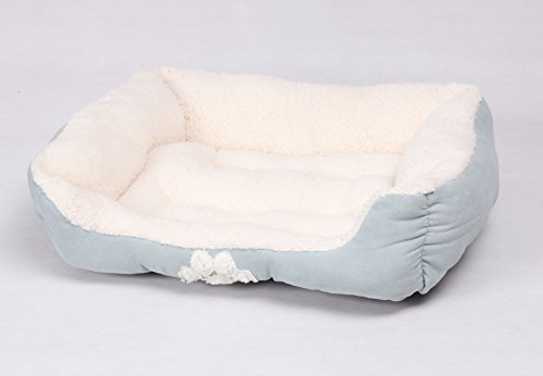 long rich Rectangle Pets Bed with Dog Paw Embroidery, 25 X21, Teal Color, by Happycare Textiles