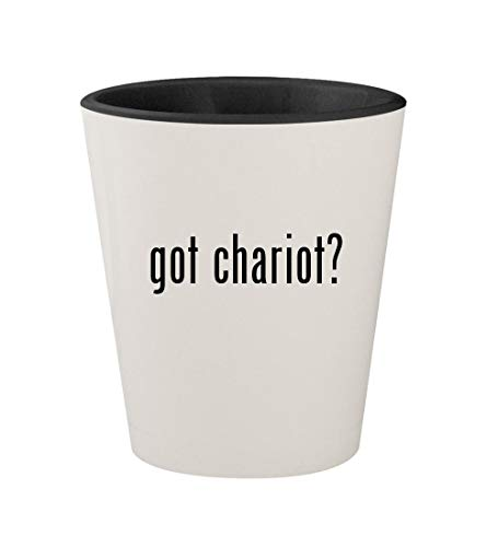 Chariot Carriers Cheetah - got chariot? - Ceramic White Outer & Black Inner 1.5oz Shot Glass