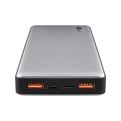 Goobay 59819 Powerbank 15000 mAh met Quickcharge QC 3.0 externe accu, 2 x USB plus USB-C slank design in aluminium…