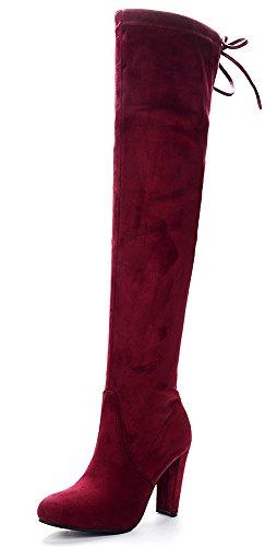 Y Rojo La Botas Alto Vino Fino De Elasticas Odema Gamuza Tacon Mujer Sobre Rodilla Para 6qBxzwzH