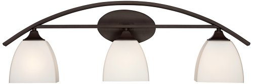 "Jenisen Arch Modern Farmhouse Wall Light Bronze Hardwired 29"" Wide 3-Light Fixture White Glass Shades for Bathroom Vanity Mirror - Franklin Iron Works - 29"" wide x 8"" high. Extends 6"" from the wall. Backplate is 7 1/4"" wide x 4 1/2"" high x extends 1"". Takes three maximum 60 watt standard base bulbs (not included). Three-light bathroom wall light from Franklin Iron Works. - bathroom-lights, bathroom-fixtures-hardware, bathroom - 31BQV5jK77L -"