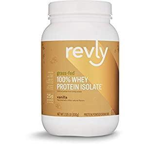 Amazon Brand Revly 100% Grass Fed Whey Protein Isolate Powder, Vanilla, 2.05 lbs, 30 Servings, No added rbgh/rbst‡, no artifical colors, flavors, or sweeteners