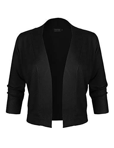 Instar Mode Womens Classic Solid 3/4 Sleeve Open Front Cropped Cardigan [S-XL]