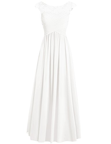 Bridesmaid Sheer Appliques Sleeves Wedding Formal Ivory Dresses Chiffon Cdress Cap Long datwnqxXXH