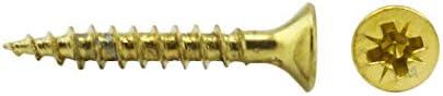100 schroeven 25 x 20 mm alle schroefdraad IROX staal messing kop kruis Pozidriv PZD verzonken schroef voor hout en spaanplaat 25 x 20 spaanplaat