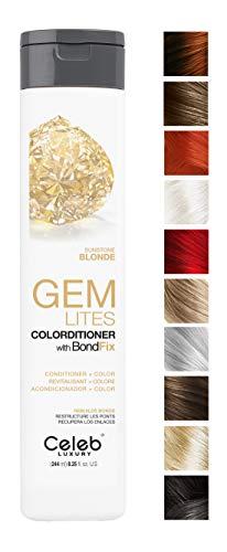 Celeb Luxury Gem Lites Colorditioner: Sunstone Blonde Hair Color Depositing Conditioner, BondFix Bond Rebuilder, 10 Traditional Colors, Stops Fade. Condition + Color, Cruelty-Free, 100% Vegan