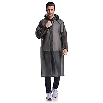 "UNPOPULAR Adult Reusable Rain Poncho, EVA Portable Raincoat with Hoods Sleeves, Size 43.3"" Unisex Waterproof Rainwear (Black)"