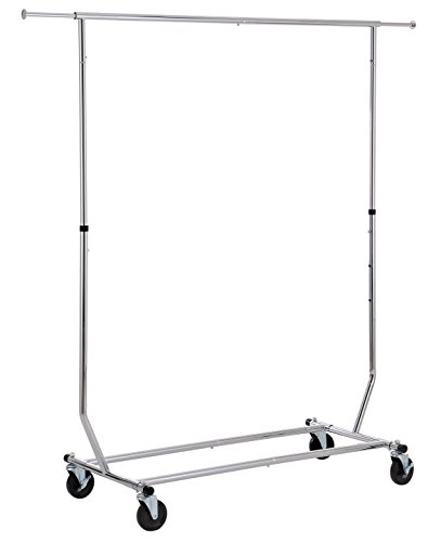 Finnhomy Commercial Grade Adjustable Single Rail Rolling Garment Rack, Heavy Duty Extensible Clothing Hanging Rack with Lockable 4-Inch Industrial Wheels, - Single Industrial