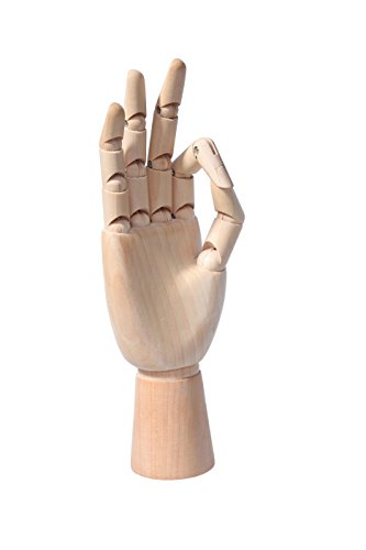Female Mannequin Hand 12 Inches– Art Sectioned Posable Mannequin Hand - Wooden Opposable Manikin Hand Figure - Perfect for Arts Drawing, Sketching, Painting, and More - Right ()