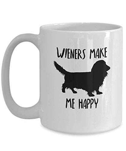 Long Haired Dachshund Mug - Wieners Make Me Happy - Funny Novelty Coffee Cup For Long Hair Doxie Lovers and Owners - Best Christmas & Birthday Gag Gift For Pet - Jar Ceramic Cookie Handbag