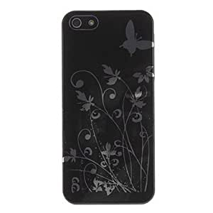 WEV Butterfly in Flora Pattern Smooth Surface Hard Case with Transparent Frame for iPhone 5/5S (Optional Colors) , White