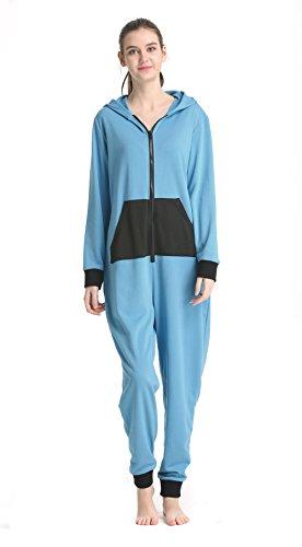 Womens Hooded Pajamas Set Onesie Jumpsuit Adult One Piece Pajamas Sleepwear(Blue,S)