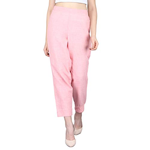 Maaesa Womens Pure Cotton Solids Regular Fit Trouser Pants (Pink)