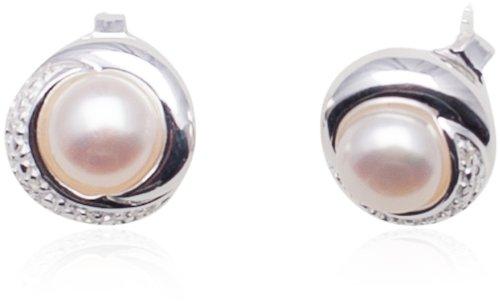Boucles d'Oreilles - Femme - Argent 925/1000 6.2 Gr - Oxyde de Zirconium - Perle de Synthèse