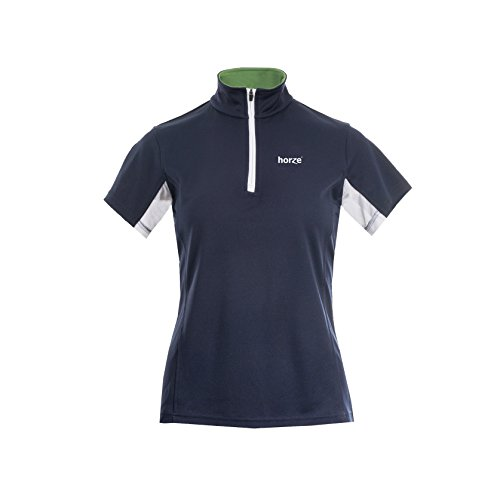 Horze Trista Women's Short-Sleeved Functional Shirt Peacoat Dark Blue/Frangipani Green 6