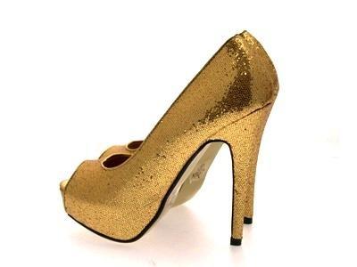 DAMEN 8 STILETTO TOES HEEL PARTY PLATFORM 3 SEXY HIGH Gold PEEP GLITTER DAMEN SHIMMER qx4wI17n8