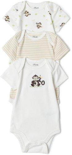 Little Me Monkey 3 Pack Bodysuit, Ivory Multi, 3 Months