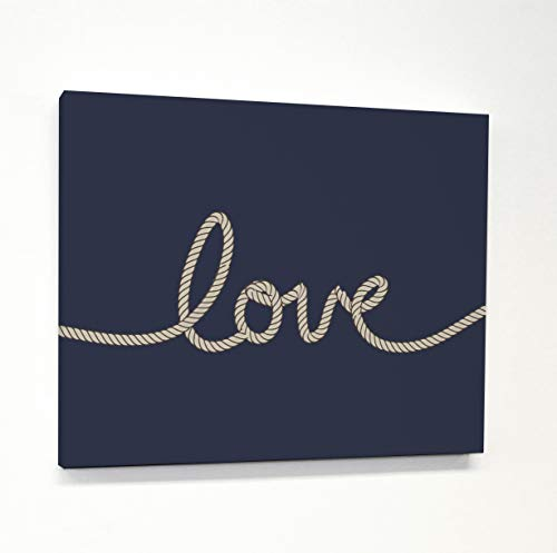 - One Bella Casa 72254WD16 16 x 20 in. Love Rope Canvas Wall Decor - Navy