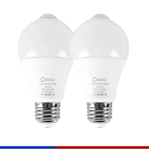 Copper White Bulb - LED Motion Sensor Light Bulb 9W E26 Base Cool White Dusk to Dawn PIR Infrared Body Lamp for Garage Porch Stairs Hallway Lighting Pack of 2