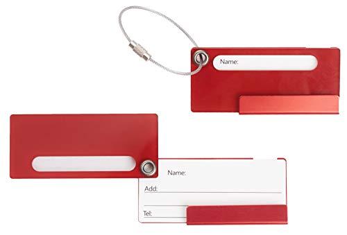 Travelambo Aluminum Luggage Tag Bag Tags 2 pcs Set (Red)