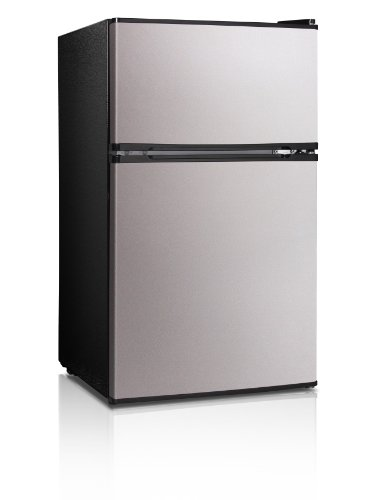 Midea WHD-113FSS1 Double Reversible Door Refrigerator and Freezer, 3.1 Cubic Feet, Stainless Steel