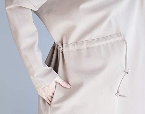 La One Mode Size De vent Hiver couleur Costume Ceinture Col Petit Automne Lâche Kaki Grande Et Version Taille Coupe Noir Longue qx8yBgSHw
