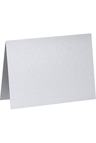 Cards Casual Correspondence (A6 Folded Card (4 5/8 x 6 1/4) - Silver Metallic (50Qty) | Perfect for Personal Stationery, Invitation Suite Inserts, Casual Correspondence and much more! | PGCST919-50)