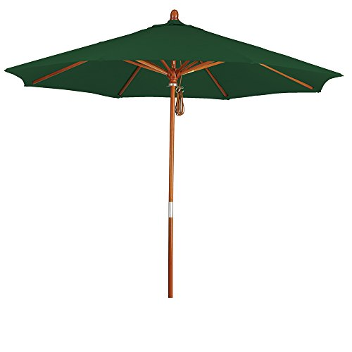 - Eclipse Collection 9' Wood Market Umbrella Pulley Open Marenti Wood/Pacifica/Hunter Green