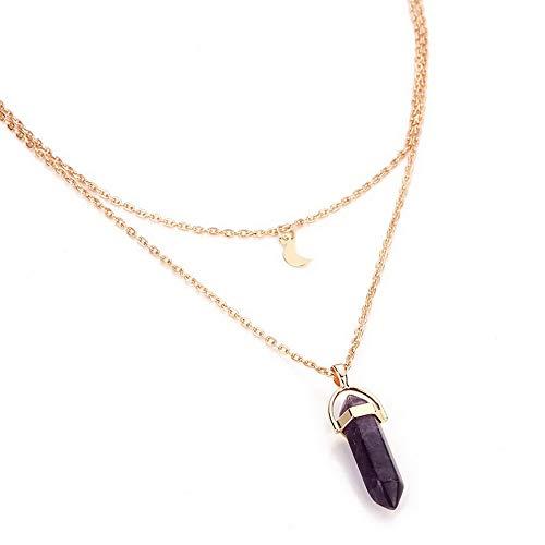 (Kaputar Women Yoga Reiki Healing Jade Crystal Pendant Double Chain Moon Chakra Necklace | Model NCKLCS - 19908 |)