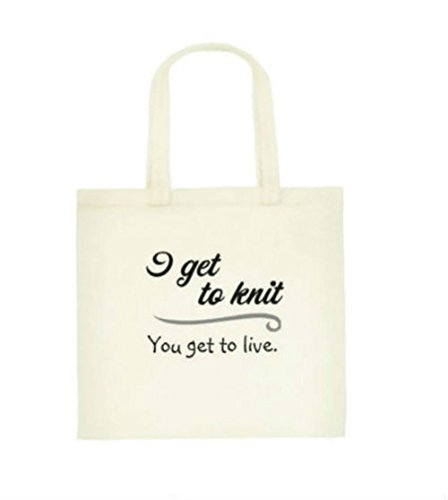 Canvas Knitting Project Bag Organizer Tote, with either Locking Stitch Markers or Bamboo Wool Yarn or Notions Bag (Or Tote Alone) Gift Sets- I Get to Knit, You Get to Live (Tote Bag (Notions Bag)