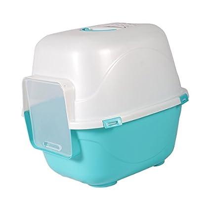 Bandeja higiénica cubierta para gatos Nobleza, color azul con trampilla de entrada y salida,
