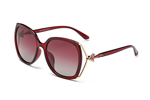 SZLINGKE Brand Designer Polarized Women Square Frame Sunglasses Ladies Fashion Big PC Fox Diamond Frame Lady Sunglasses Woman Classical Retro Driving Ladies EyeGlasses UV400 (Red & Red)