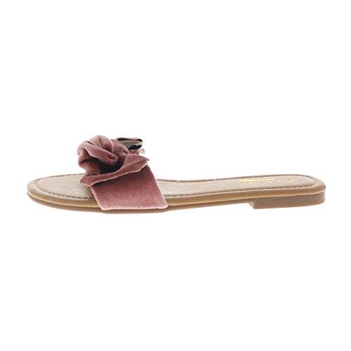 Glaze Womens Velvet Slippers w/Bow Honey-11 Mauve 84DaXslA