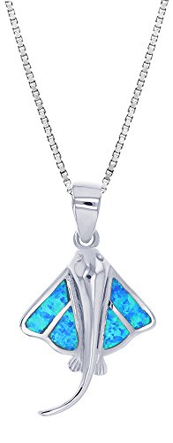 Sterling Silver Synthetic Opal Stingray Necklace Pendant With 18