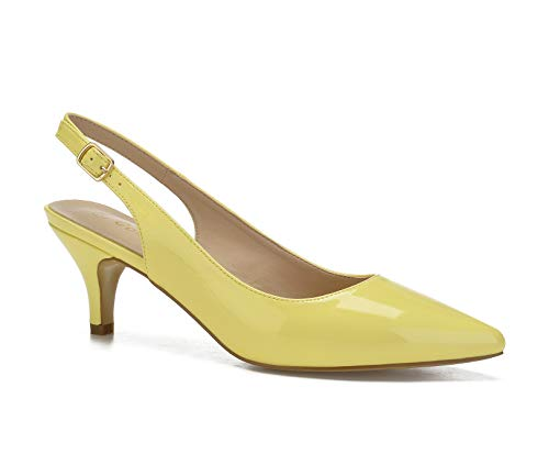 ComeShun Yellow PU Womens Shoes Comfort Classic Kittens Dress Slingback Pump Size 6