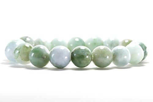 KARATGEM Natural Jadeite Jade Bracelet Beads 10/14mm Light Green Color (14mm x15 Beads) (Light Green Jade Bead)