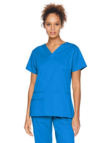 Amazon Essentials Women's Quick-Dry Stretch Scrub Top, Royal Blue, Large
