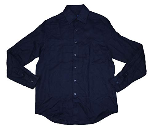 Tasso Elba Mens Linen Casual Button-Down Shirt Navy M -