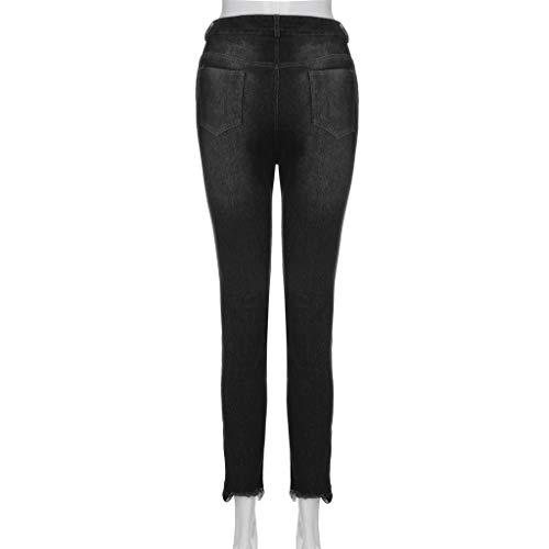 Alta Odjoy Con Elasticizzato Slim Magro Buco Vita fan Nero Denim Polsini A Donne Jeans Pantaloni wIvIpHq