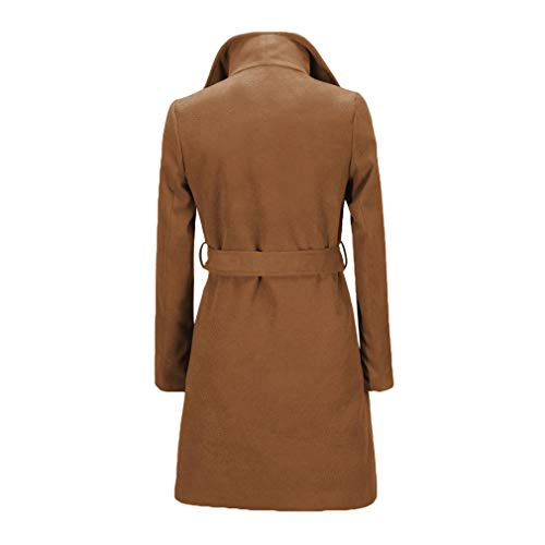 Donna Solid Giacche Capispalla Long Yying Di Winter Fit Autunno Coat Trench Cappotti Blend Verde Lana Slim Cachi UtwqxCq6d