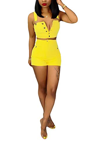 Women's Two Piece Denim Outfits Button Down Strapless Crop Top and Bodycon Jean Shorts Set Yellow ()
