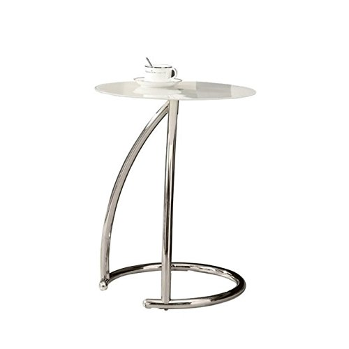 Monarch Specialties Chrome Metal and Frosted Tempered Glass Accent Side Table