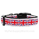 Dog Supplies Tiled Union Jack(Uk Flag) Nylon Ribbon Collar Medium, My Pet Supplies