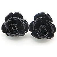 9mm Small Black Rose Studs, Hypoallergenic Plastic Post Earrings Metal Sensitive Ears