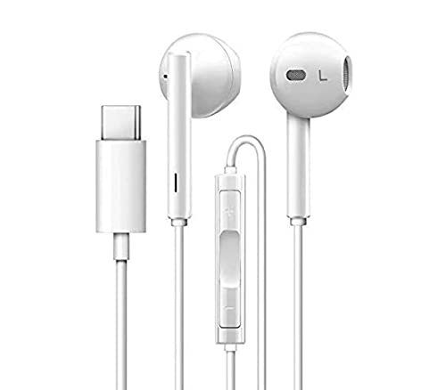 ENGARY® Headphones with Mic C-Type Earphones for OnePlus 6 6T 7 7T 7Pro 8 8T 8Pro Nord (White)