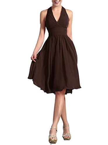 VaniaDress Women Halter Low Back Short Cocktail Party Dress Prom Gowns V200LF Brown US10