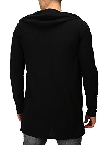 Jacke Key Largo Sweatjacke Kapuzenjacke Herren Männer Long grau Kapuze Slim Fit schwarz S