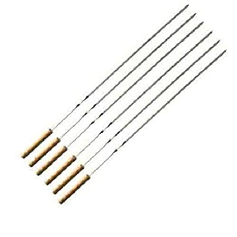 Modstyle Barbecue BBQ Grill Skewer Sticks Heavy Stainless Steel with Wooden Handle 47 cm 6 per Pack (179-7)