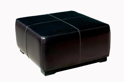 Y-052-023-Black Full Leather Square Ottoman Footstool