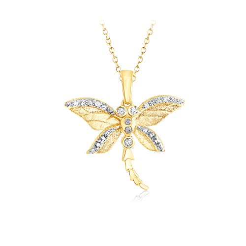 1/12 Ct Natural Diamond Dragonfly Pendant 16